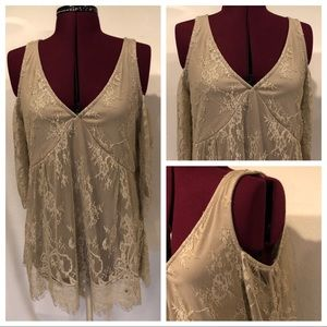 NEW Maurices Lace Cold Shoulder Top Sz Large